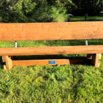 Wooden bench for outdoor seating